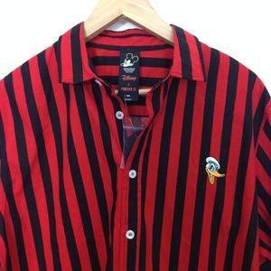 Disney Mickey Mouse Men Striped Button M Shirt